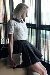 dress,black,white,lace,peter pan collar,pleated dress,clubwear,jones and jones