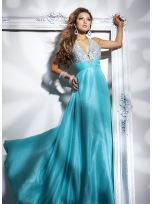 Buy Elegant A-line Blue Halter Beaded Floor Length Evening Dress under 200-SinoAnt.com