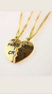 jewels,gold partners in crime  necklace,infinity,heart,necklace,gold,bff,friendship necklace,friends,weheartit,pretty little liars,tumblrish,crime,chain,hat,home accessory