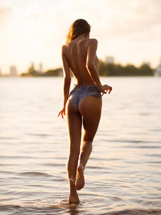 swimwear bikini high waisted bikini denim sweet beach summer clean blue swimwear charming sexy bikini bottoms