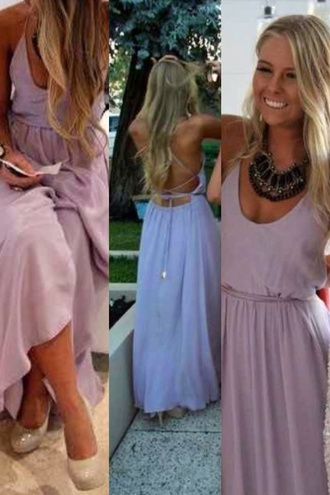 dress cross back maxi dress light purple lilca