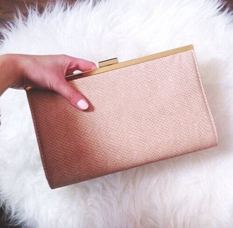 bag clutch snake rosa beige