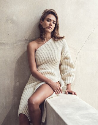 dress sweater oversized sweater sweater dress knitwear jessica alba editorial slit dress one shoulder knitted dress midi knit dress white knit dress