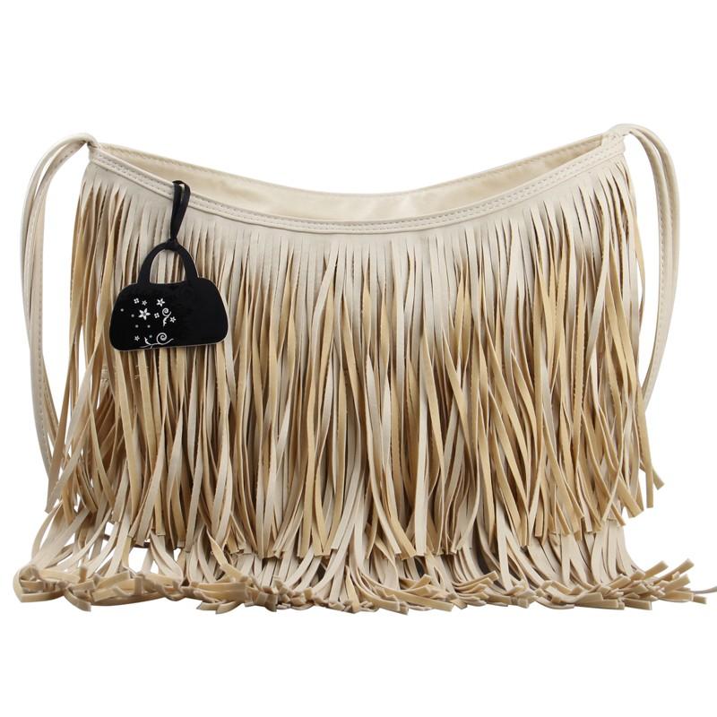 Women black leather fringe crossbody bag