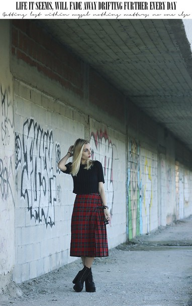 the black effect blogger plaid shirt midi skirt