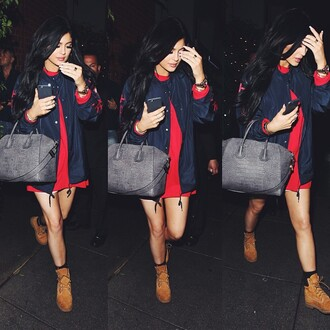 kylie jenner bomber jacket red dress handbag jacket dress