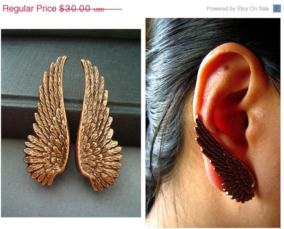 SALE Ear cuff NO PIERCINGox copper vintage style large by UpBrass