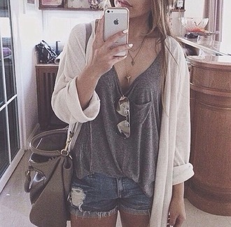 t-shirt top short sac a main iphone 5 gilet lunnette de soleil cardigan