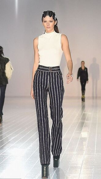 pants top stripes striped pants kendall jenner ny fashion week 2016 fashion week 2016