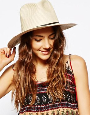 ASOS | ASOS Straw Fedora Hat With Skinny Band at ASOS