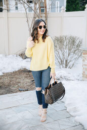 thefashionistasdiary,blogger,jeans,top,blouse,louis vuitton bag,yellow sweater,sandals,spring outfits