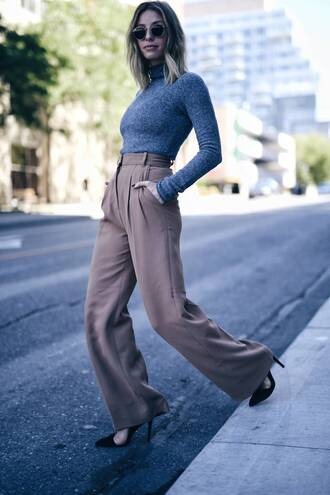 pants tumblr nude pants camel high waisted pants wide-leg pants top grey top turtleneck grey turtleneck top sunglasses pumps pointed toe pumps high heel pumps work outfits office outfits