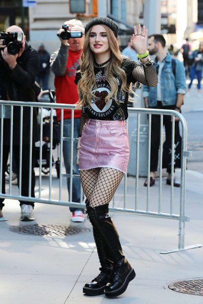 skirt top tights bella thorne boots metallic shoes