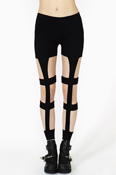 Nasty Gal Caged Up Leggings in Black | Lyst