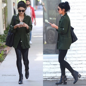 jacket jewels necklace streetstyle vanessa hudgens spring outfits sunglasses green