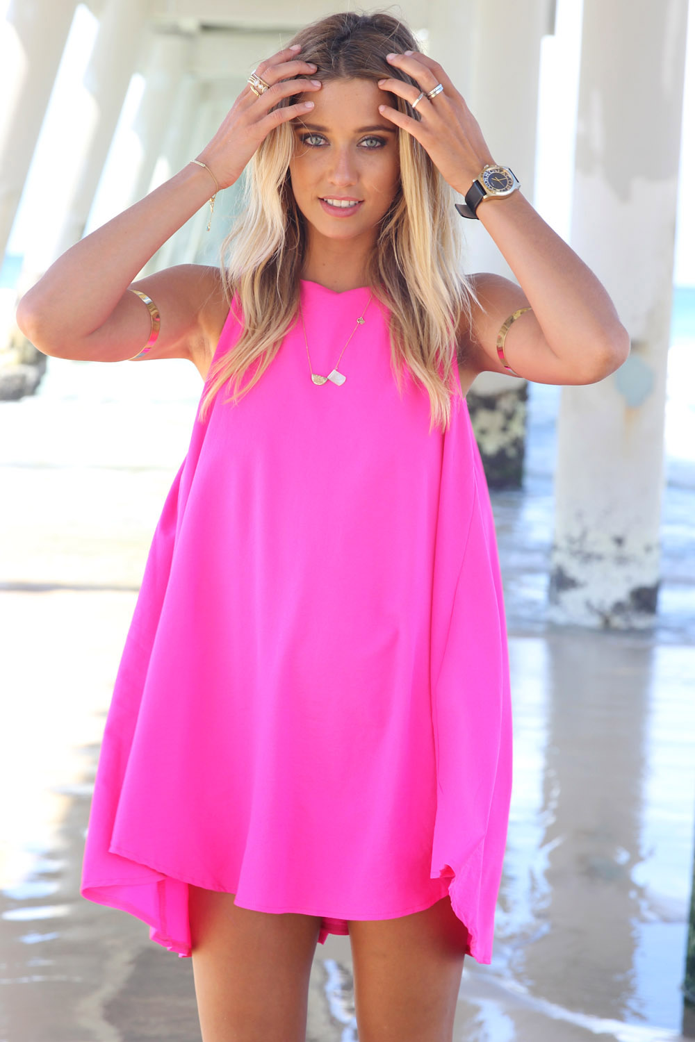 Mini Dress - Hot Pink Flare Sleeveless Dress  UsTrendy