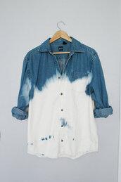 shirt,blue,white,dip dyed,jeans,tie dye,blue shirt,white shirt,bag,ombré flannel,ombre,white and gray shirt,bleach,gray shirt