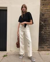 shoes,checkered,slip on shoes,wide-leg pants,white pants,high waisted pants,black t-shirt,handbag