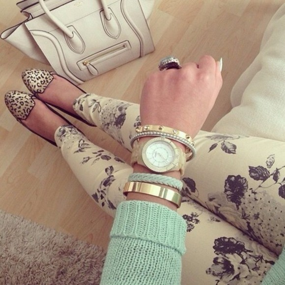 mint jeans floral pants shoes sweater jewels