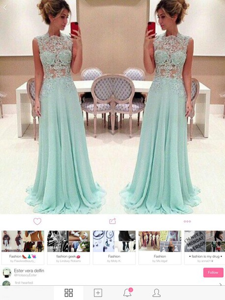 dress lace dress mint long prom dress long dress