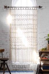 scarf,hippie,boho,curtains,lace,white,cream,home decor,boho decor