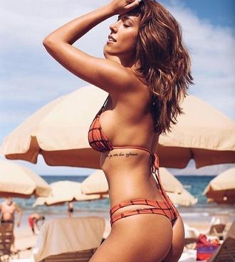 swimwear acacia swimwear bikini orange checkered