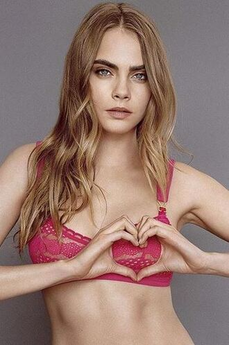 underwear cara delevingne lace bra bra pink bra