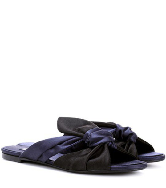 oscar de la renta sandals satin blue shoes