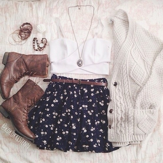 sweater skirt tank top jewels combat boots fall outfits shoes blouse floral hipster shorts so pretty hipster trends spring summer boots cardigan cute summer trends summer outfits spring trends spring outfits girly floral print skirt brown leather boots chunky cream knit polka dots