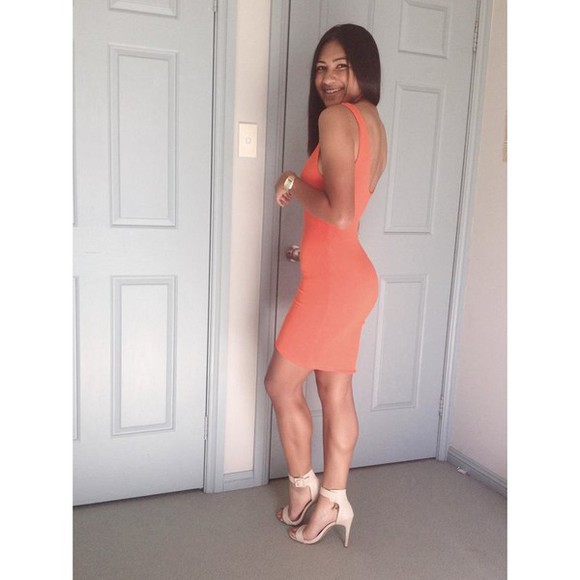 dress backless backless dress tight dress orange orange dress midi dress midi skirt bodycon dress