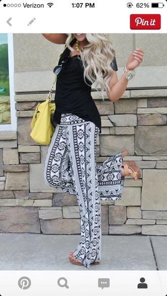 pants tribal black high waisted pants white dress cute dress love