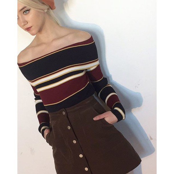 Sweater: burgundy and navy striped off the shoulder sweater ...
