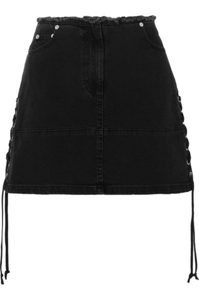 skirt mini skirt denim mini lace black