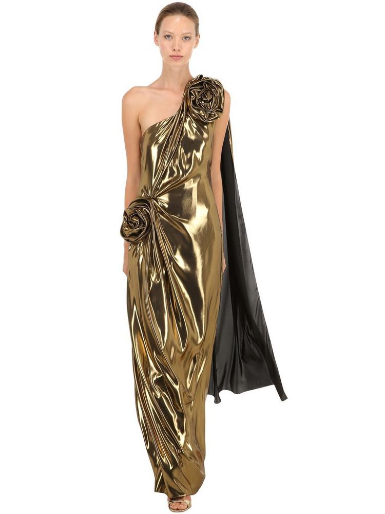 INGIE PARIS Fluid Lamé Long Dress W/ Rose Details in gold