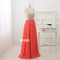 Niceoo dresses | sexy coral scoop neck floor length chiffon prom dresses with beaded