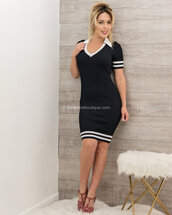 dress,moda fina boutique,celine contrasting band collared ribbed v-neck mini dress