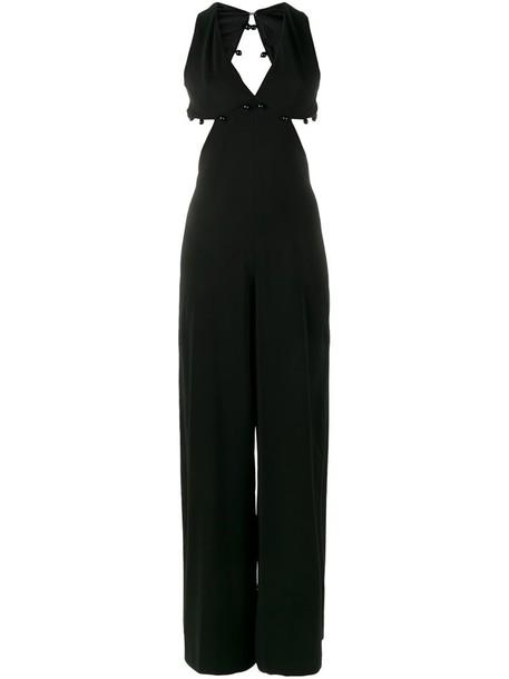 Adam Selman jumpsuit women spandex black silk