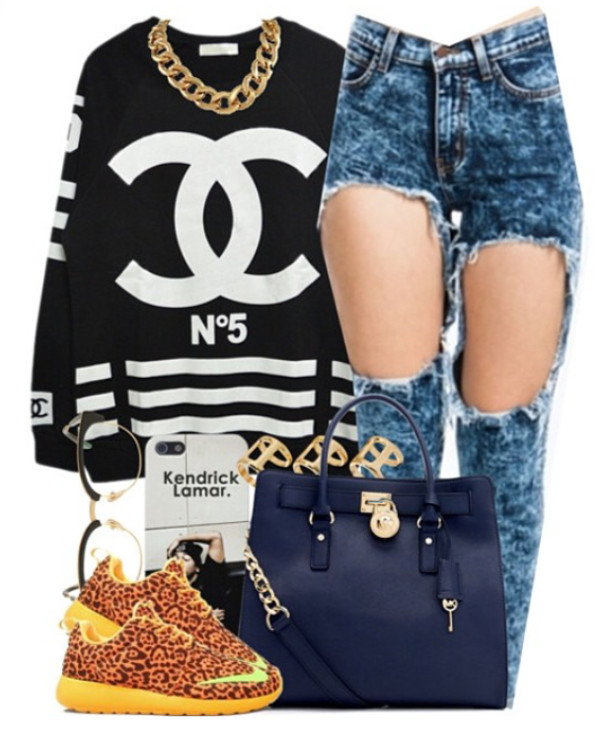 bag jeans shirt shoes hat jewels