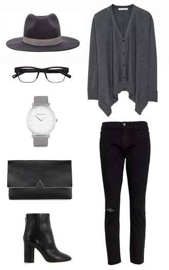 her imajination blogger cardigan jewels bag outfit watch clutch mens accessories warby parker