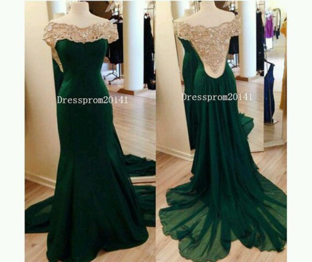 dress emerald green backless dress crystal