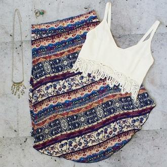 shirt tribal skirt crop tops boho shirt 'boho jewels skirt
