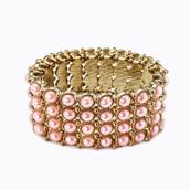 jewels,pearl links bracelet,links bracelet - pink