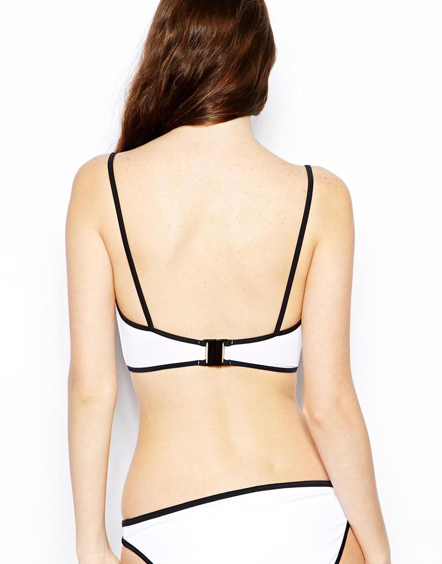 Asos contrast longline strappy bikini top at asos.com