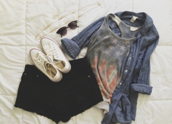 american cut rustic outfit casual tank top shoes