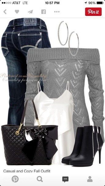 sweater bag jeans jewels tank top shoes top grey sweater