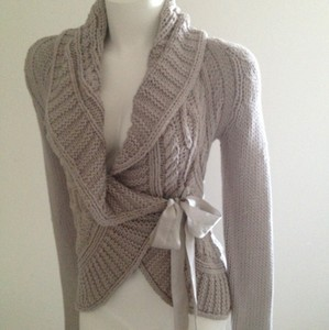 Me Jeans Sweater Wrap Around Gray Cable Knit