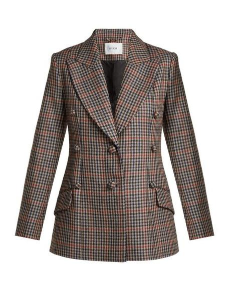 Erdem - Devon Single Breasted Check Wool Blazer - Womens - Blue Multi