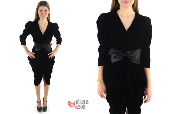 Vintage 1980s crushed velvet draped dress by giselaandzoevintage