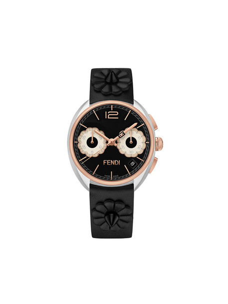 Fendi - Momento Fendi watch - women - Calf Leather/metal - One Size, Black