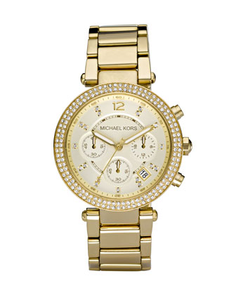 Michael Kors  Parker Glitz Watch, Golden - Neiman Marcus